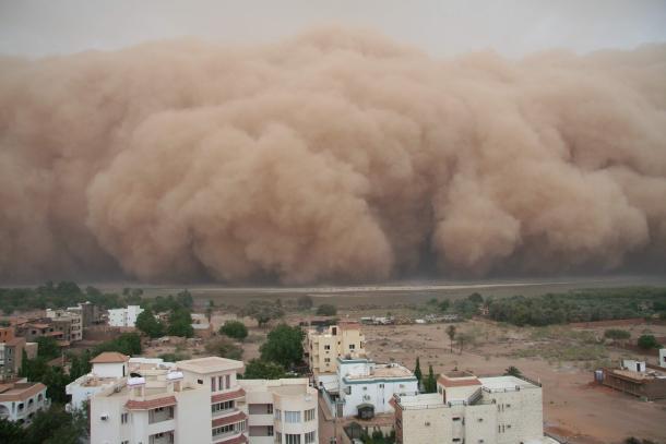 Dust storms from Africa's Saharan Desert traveling across the Atlantic Ocean